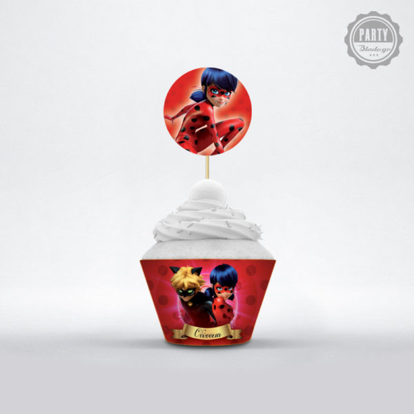 cupcake topper για παρτι με θεμα Ladybug miraculous